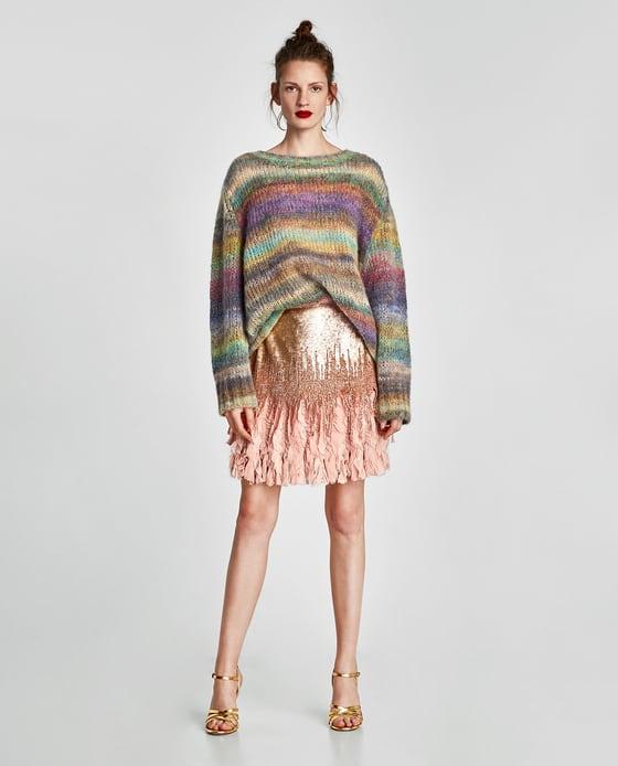 falda mini lentejuelas zara